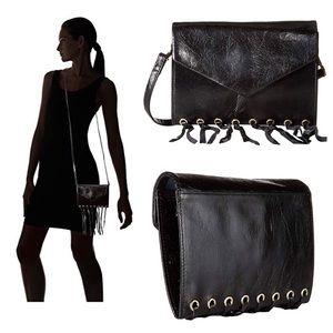 ⬇️ HOBO Maisy Black Leather Fringe Crossbody Bag